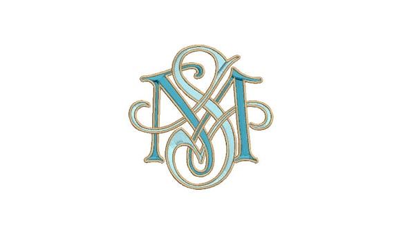 Antique S M Scroll Monogram -  Machine Embroidery File design - 4x4 inch hoop - Vintage Monogram