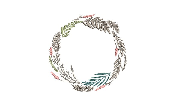 Wildflower Wreath Embroidery - Machine Embroidery File - design 5x7 inch hoop - Monogram frame