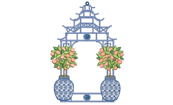 Chinoiserie Peach Tree Pagoda - Machine Embroidery File design -5 x 7 inch hoop - Instant Download - Monogram Frame