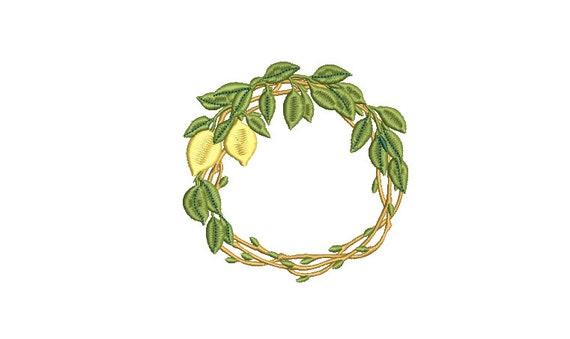 Rustic Lemon Wreath Embroidery - Machine Embroidery File - design 4x4 inch hoop - Monogram frame