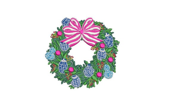 Chinoiserie Chic Ginger Jar Wreath Embroidery - Machine Embroidery File design 4x4 hoop