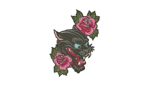 Panther Roses Tattoo Embroidery Design -  Urban Modern Machine Embroidery File design - 5x7 inch hoop - instant download