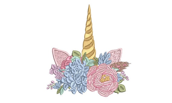 Unicorn Floral Embroidery Design - Machine Embroidery Unicorn Face - Machine Embroidery File design - 5x7 inch hoop