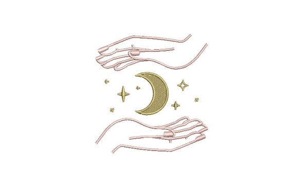 Moon Stars Hands Embroidery Design -  Moon Child Machine Embroidery File design - 4x4 inch hoop - instant download