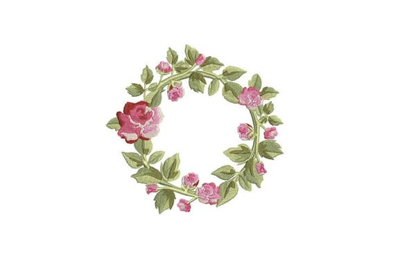 Wreath Embroidery - Rose Wreath Machine Embroidery File design 5x7 inch hoop