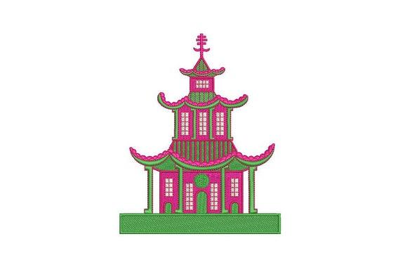 Chinoiserie Chic Monogram Pagoda Machine Embroidery File design 5x7 hoop