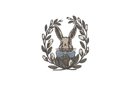 Mr Bunny Laurel  - Machine Embroidery File design 4 x 4 inch hoop - Easter Embroidery Design