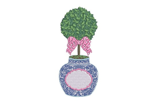 Chinoiserie Boxwood -  Gingham Bow Embroidery - Hamptons Pot Plant - Machine Embroidery File design - 5x7 inch hoop - Instant Download