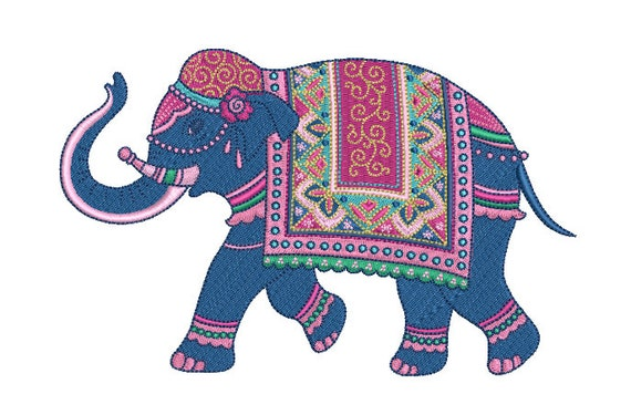 Fancy Elephant -Machine Embroidery File design  - 5x7 hoop - instant download - Chinoiserie Elephant Embroidery Design