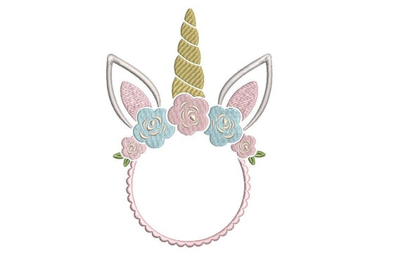 Unicorn Monogram Frame- Embroidery design - Machine Embroidery Unicorn Face Flowers Machine Embroidery File design 5x7 inch hoop