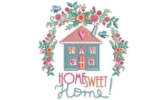 Home Sweet Home - Machine Embroidery File design - 5x7 inch hoop - Instant Download - House Warming Embroidery Design