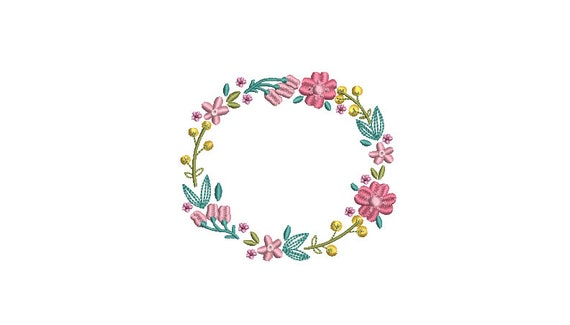 Flower Circle  Wreath- Machine Embroidery File design - 4x4 inch hoop - monogram Frame - Instant download