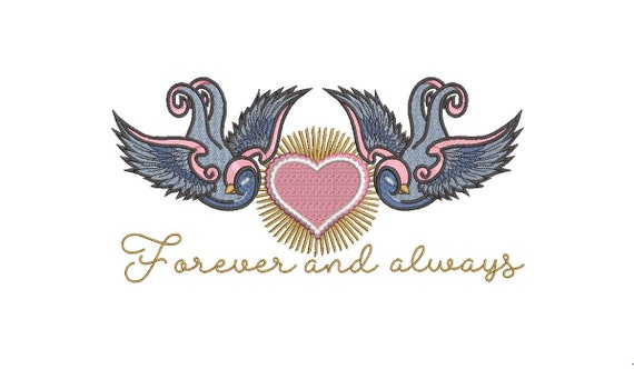 Wedding Embroidery. Forever and always. Swallows. Machine Embroidery design. 6x10 inch hoop. instant download