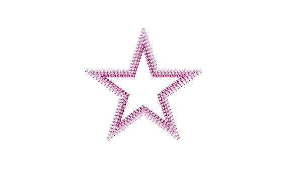 Chain Stitch Star - Machine Embroidery File design - 4x4 inch hoop - Monogram Frame - Triple Chainstitch