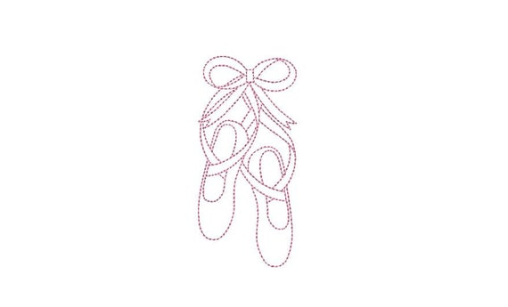 Ballet Slipper Shoes Redwork Machine Embroidery File design 4x4 hoop
