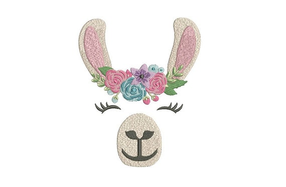 Llama Flower Crown Face Machine Embroidery File design 5x7 inch hoop