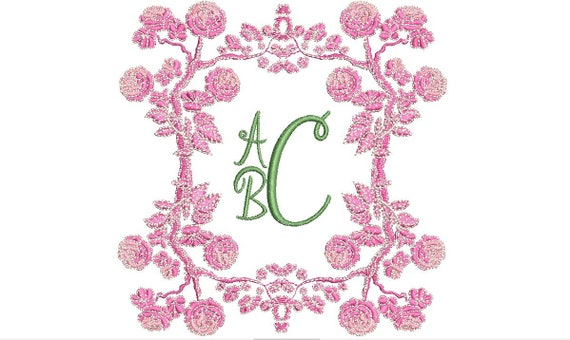 Peony Monogram Frame - Machine Embroidery File design  - 5 x 7 inch hoop - instant download