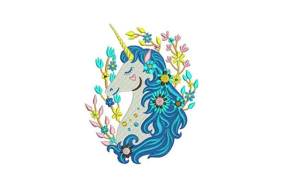 Unicorn Embroidery Design - Machine Embroidery Boho Unicorn - Machine Embroidery File design 5x7 inch hoop