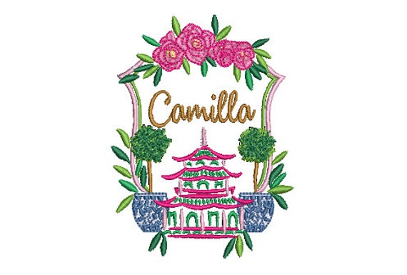 Pagoda Embroidery Design - Crest Design - Chinoiserie Chic Design - 4x4 inch hoop - Machine Embroidery Design