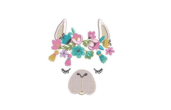 Llama Face Alpaca Machine Embroidery File design 5x7 inch hoop