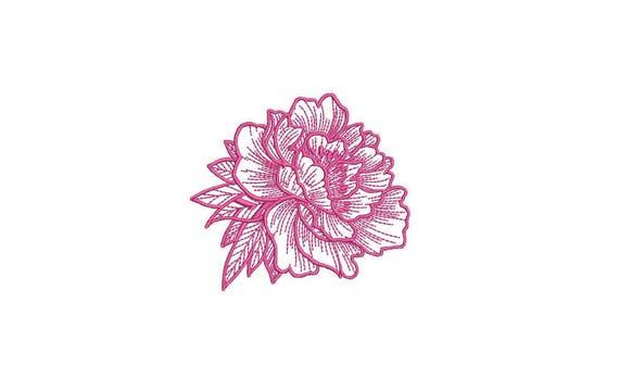Peony Sketch Machine Embroidery File design 4 x 4 inch hoop - Flower Design