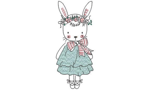 Pretty Bunny Machine Embroidery File design - 5x7 inch hoop - Easter Embroidery Design