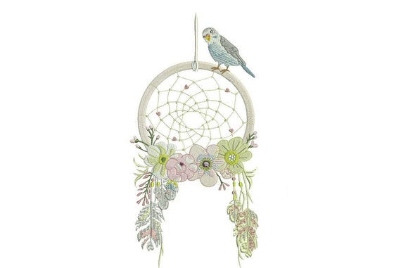 Whimsical Bird Dreamcatcher Machine Embroidery File design 6x10 inch hoop