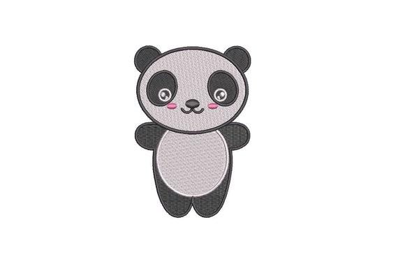 Machine Embroidery Kawaii Panda Bear - Machine Embroidery File design - 4x4 inch hoop - Instant download