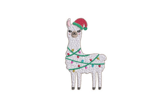 Llama Xmas Lights Machine Embroidery File design - 4x4 inch hoop - instant download - Xmas Design
