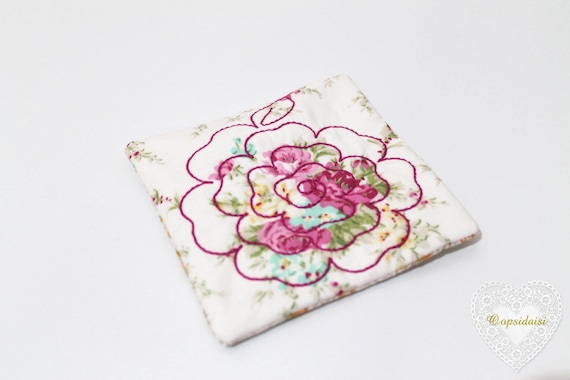 Quilted Rose Coaster Mug Rug ITH Machine Embroidery File design 5x7 inch hoop