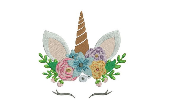 Unicorn Embroidery Design - Unicorn Face Flowers 2 Machine Embroidery File design - 5x7 inch hoop - instant download