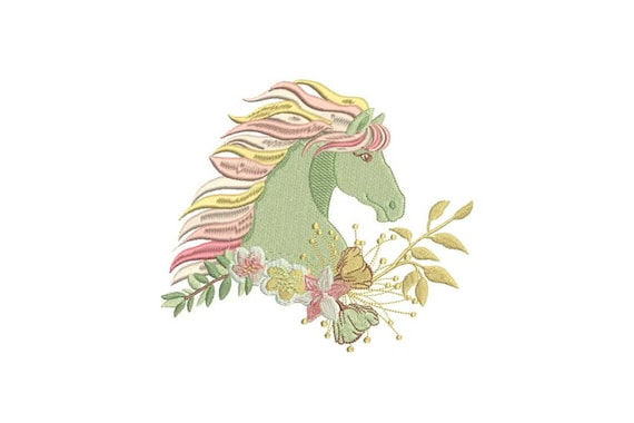 Horse Machine Embroidery File design - 6x10 inch or 16x26cm hoop - Boho Machine Embroidery - Digital Download