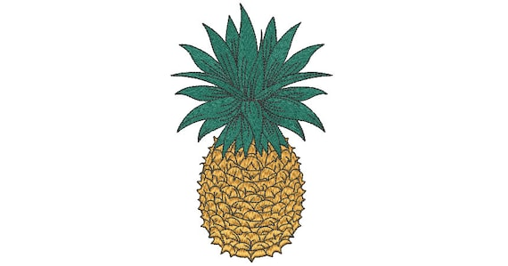 Pineapple Embroidery - Machine Embroidery Tropical Summer Pineapple Embroidery File design 5x7 hoop