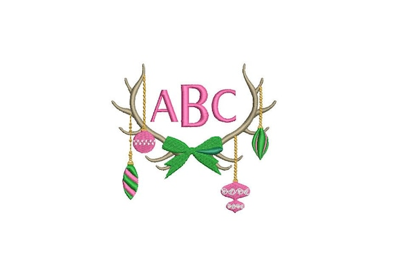 Christmas Antlers embroidery - Monogram Frame- Machine Embroidery File design - 4x4 inch hoop - instant download