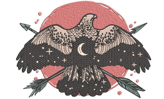 Bohemian Eagle Machine Embroidery File design - 8x12 inch hoop - instant download - Eagle Design