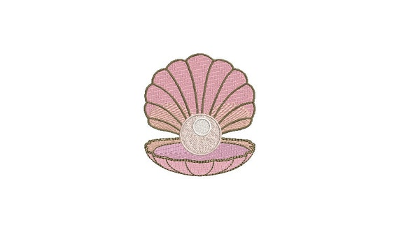 Pink Pear Shell Machine Embroidery File design  - 4x4 inch hoop - instant download - Seashell embroidery design