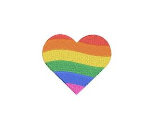 Rainbow Heart Machine Embroidery File design 4 x 4 inch hoop - 6cm mini