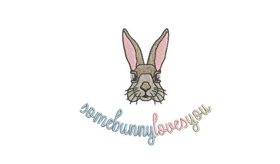 Some bunny loves you - Machine Embroidery File design 4 x 4 inch hoop - Easter Embroidery Design