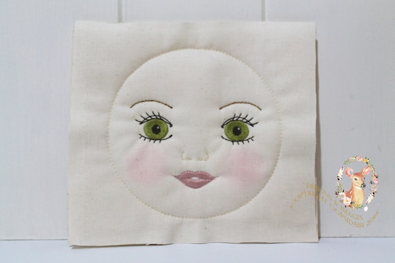 ITH In The Hoop Handmade look Kissing Doll Face Machine Embroidery File design 5x7 doll face embroidery