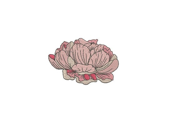 Peony Head #2 Machine Embroidery File design 4 x 4 inch hoop - Flower