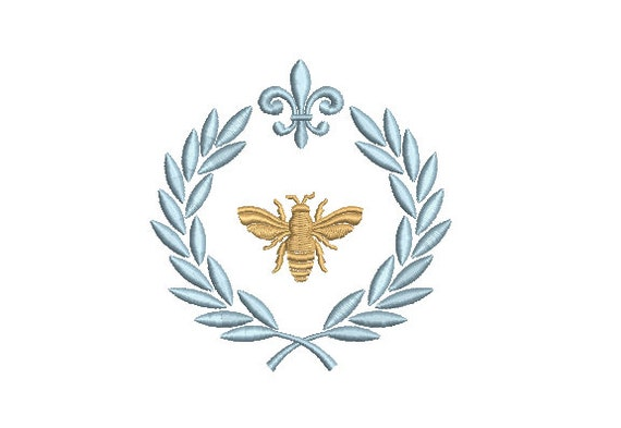 French Bee Laurel embroidery - Machine Embroidery File design - 4 x 4 inch hoop - instant download