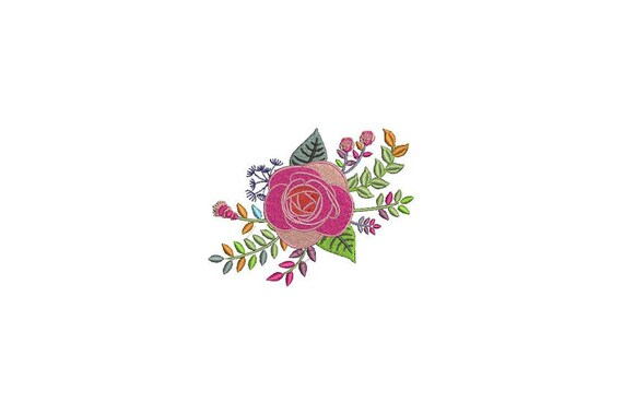 Colourful Rose Machine Embroidery File design - 4 x 4 inch hoop - Rosette - Rose Silhouette