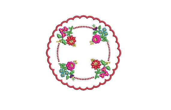 Hungarian Floral Folksy Doily Motif Machine Embroidery File design 4 x 4 inch hoop