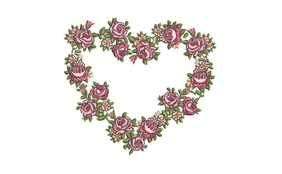 Shabby Rose Heart Wreath - Machine Embroidery File design - 5 x 7 inch hoop - Monogram Frame
