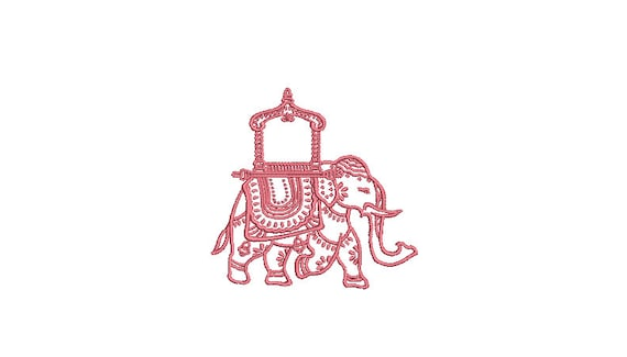 Chinoiserie Chic - Monogram Elephant 1 -Machine Embroidery File design  - Mini - 3 inches - 4x4 inch hoop - instant download