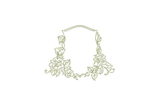 Simple Wedding Crest Machine Embroidery File design 4x4 inch hoop - Monogram Frame