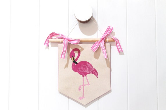ITH In The Hoop Flamingo Banner Pennant Machine Embroidery Design 8x12hoop