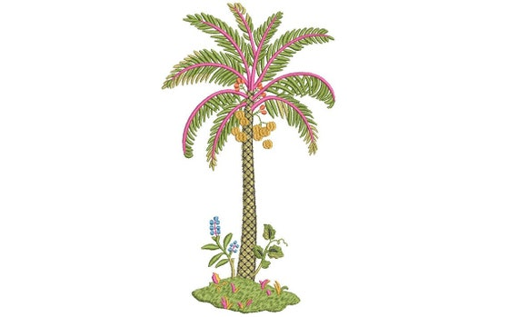 Pretty - Palm Tree Machine Embroidery File design - 5 x 7 inch hoop - Palm Silhouette -  Brother Embroidery