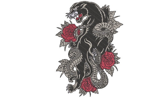 Snake Roses Embroidery Design instant download Urban Modern Machine Embroidery File design 5x7 inch hoop