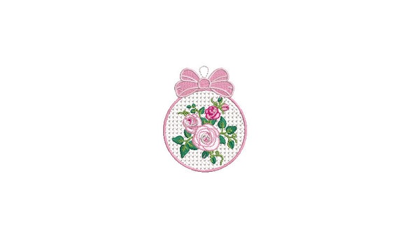 Shabby Rose Christmas Bauble Ornament - Machine Embroidery File design - 4x4 inch hoop - Monogram Frame